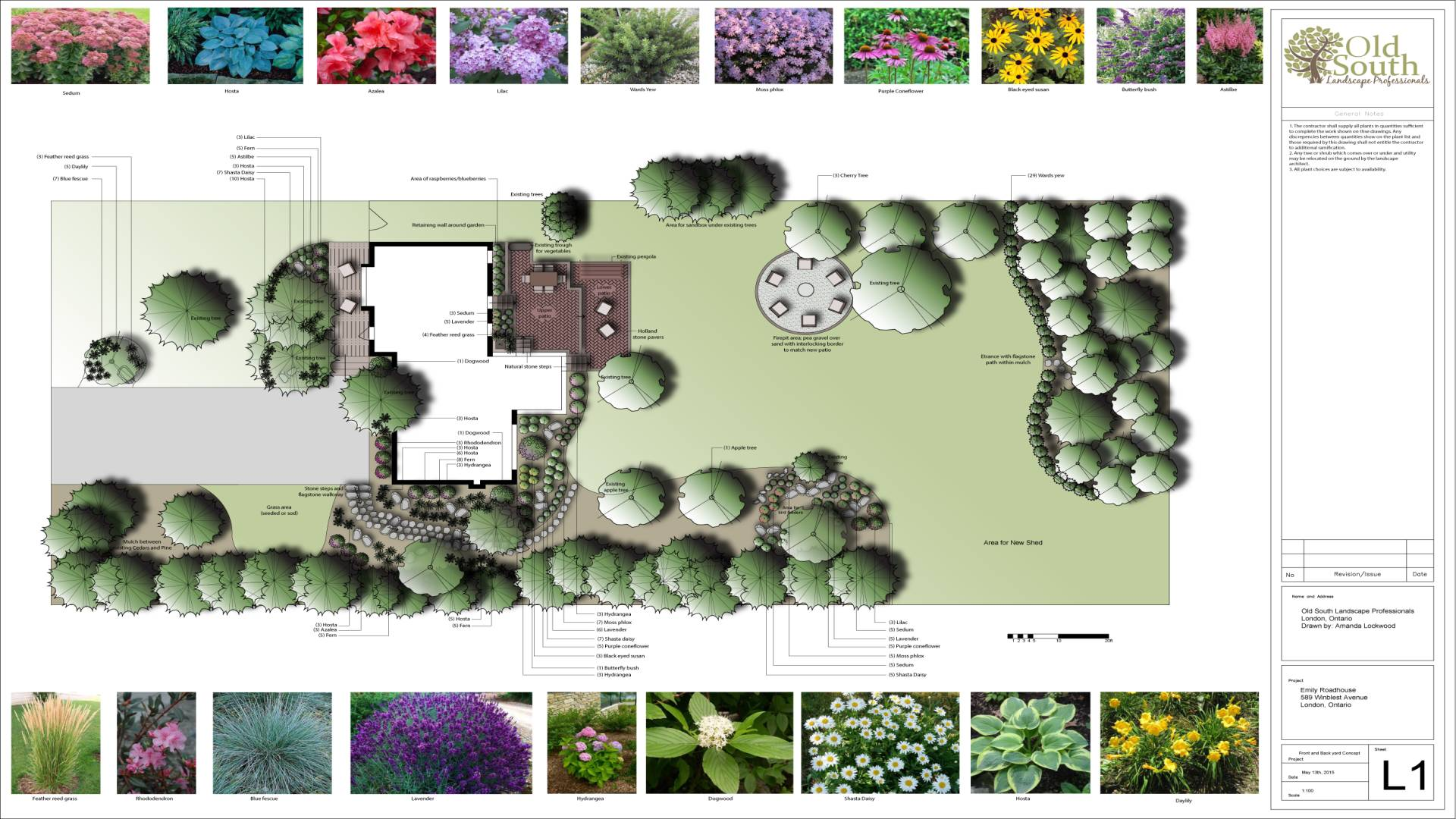 Sample landscape design. Detailed full-color drawing of the landscape design featuring meticulously labelled items with photos of plants in the plant legend bars above and below the full color drawing.